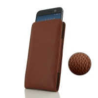 HTC 10 Pouch Case with Belt Clip (Brown Pebble Leather) PDair Premium Hadmade Genuine Leather Protective Case Sleeve Wallet