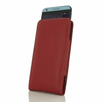 HTC Desire 650 Leather Sleeve Pouch Case (Red) PDair Premium Hadmade Genuine Leather Protective Case Sleeve Wallet