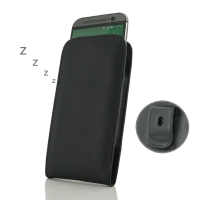 HTC One M8 Pouch Case with Belt Clip (Black Stitch) PDair Premium Hadmade Genuine Leather Protective Case Sleeve Wallet