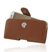 HTC One S9 Leather Holster Case (Brown) PDair Premium Hadmade Genuine Leather Protective Case Sleeve Wallet