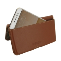 HTC One S9 Leather Wallet Pouch Case (Brown) PDair Premium Hadmade Genuine Leather Protective Case Sleeve Wallet