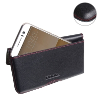 HTC One S9 Leather Wallet Pouch Case (Red Stitch) PDair Premium Hadmade Genuine Leather Protective Case Sleeve Wallet