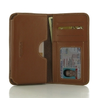 HTC One S9 Leather Wallet Sleeve Case (Brown) PDair Premium Hadmade Genuine Leather Protective Case Sleeve Wallet