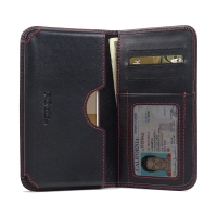 HTC One S9 Leather Wallet Sleeve Case (Red Stitch) PDair Premium Hadmade Genuine Leather Protective Case Sleeve Wallet
