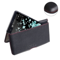 Leather Wallet Pouch for HTC U Ultra (Red Stitch)