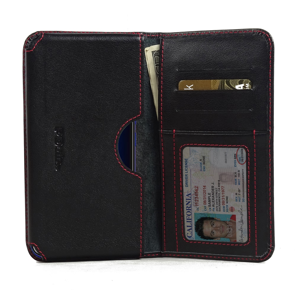 Leather Card Wallet for HTC U11 (Red Stitch)