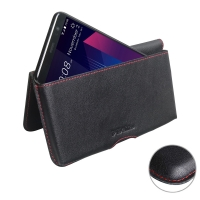 Leather Wallet Pouch for HTC U11 Plus (Red Stitch)