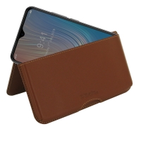 Leather Wallet Pouch for HTC Wildfire X (Brown)
