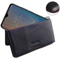 Leather Wallet Pouch for HTC Wildfire X (Red Stitch)