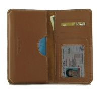 Leather Card Wallet for HTC Wildfire X (Brown)