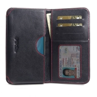 Leather Card Wallet for HTC Wildfire X (Red Stitch)