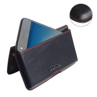 Leather Wallet Pouch for Huawei Enjoy 7 (Red Stitch)