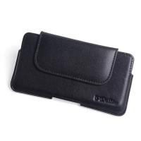 Luxury Leather Holster Pouch Case for Huawei Enjoy 8e (Black Stitch)