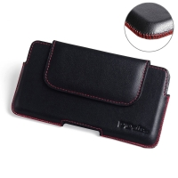Luxury Leather Holster Pouch Case for Huawei Enjoy 8e (Red Stitch)