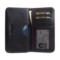 Leather Card Wallet for Huawei Enjoy 8e (Red Stitch)