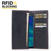 Continental Leather RFID Blocking Wallet Case for Huawei Enjoy 9s (Black Pebble Leather/Red Stitch)