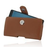 Huawei G9 Lite Leather Holster Case (Brown) PDair Premium Hadmade Genuine Leather Protective Case Sleeve Wallet