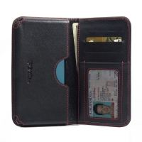 Huawei G9 Lite Leather Wallet Sleeve Case (Red Stitch) PDair Premium Hadmade Genuine Leather Protective Case Sleeve Wallet