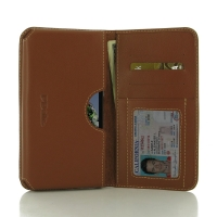 Huawei Honor 5A Leather Wallet Sleeve Case (Brown) PDair Premium Hadmade Genuine Leather Protective Case Sleeve Wallet