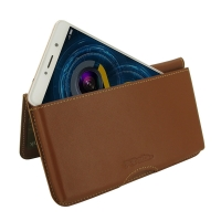Leather Wallet Pouch for Huawei Honor 6X (Brown)