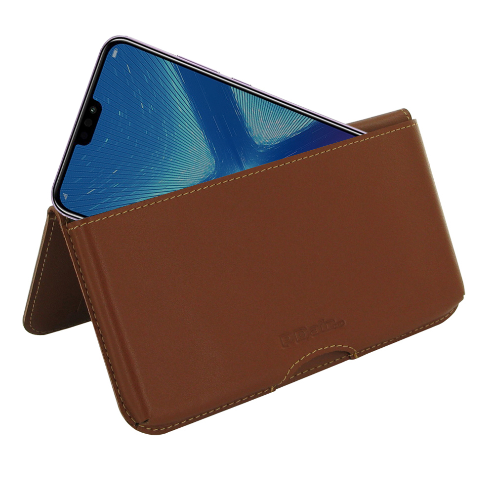 Leather Wallet Pouch for Huawei Honor 8X (Brown)