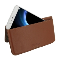 Leather Wallet Pouch for Huawei Honor V8 (Brown)