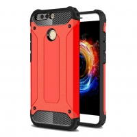 Hybrid Dual Layer Tough Armor Protective Case for Huawei Honor V9 (Red)