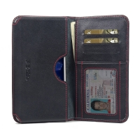 Leather Card Wallet for Huawei Honor V9 (Red Stitch)