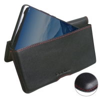 Leather Wallet Pouch for Huawei Mate 10 (Red Stitch)