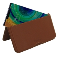 Leather Wallet Pouch for Huawei Mate 30 Pro 5G (Brown)