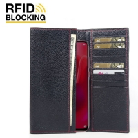 Continental Leather RFID Blocking Wallet Case for Huawei nova 4 (Black Pebble Leather/Red Stitch)