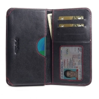 Leather Card Wallet for Huawei Nova 5 (Red Stitch)