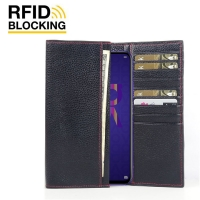 Continental Leather RFID Blocking Wallet Case for Huawei Nova 5T (Black Pebble Leather/Red Stitch)