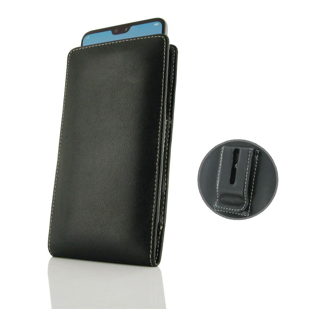 huge discount a4938 836cb Leather Vertical Pouch Belt Clip Case for Huawei P20 Pro
