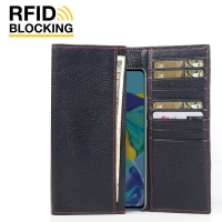 Continental Leather RFID Blocking Wallet Case for Huawei P30 (Black Pebble Leather/Red Stitch)