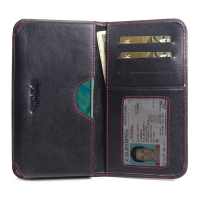 Leather Card Wallet for Huawei P30 (Red Stitch)