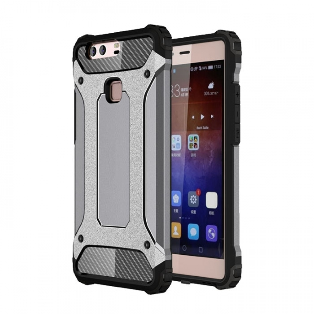 the best attitude b2616 3743c Hybrid Dual Layer Tough Armor Protective Case for Huawei P9 Plus (Grey)