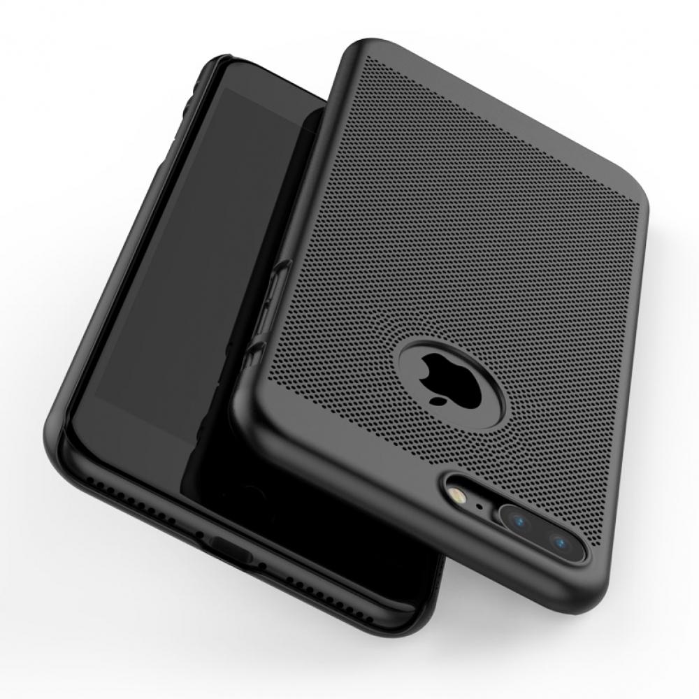 IPhone 7 Plus Ultra Slim Premium Matte Finish Mesh Hard Case Rose Gold Genuine Leather