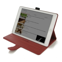 Deluxe Leather Book Case for Apple iPad Pro 9.7 (Red)