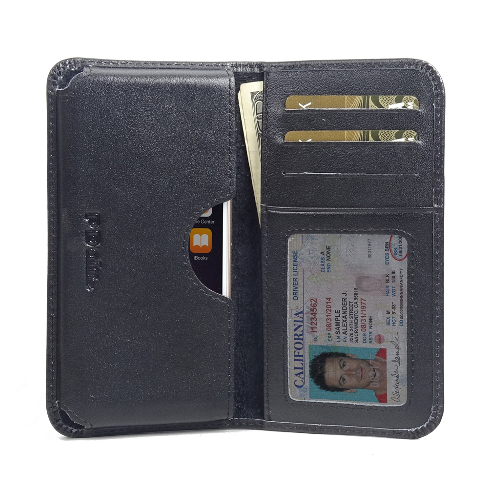 iPhone 6 6s Leather Wallet Sleeve Case (Black Stitch PDair Premium Hadmade Genuine Leather Protective Case Sleeve Wallet