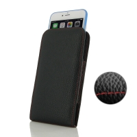 Leather Vertical Pouch Case for Apple iPhone 6 Plus | iPhone 6s Plus ( Compatible with 1.0 mm Slim Case / Cover on ) (Black Pebble Leather/Red Stitch)