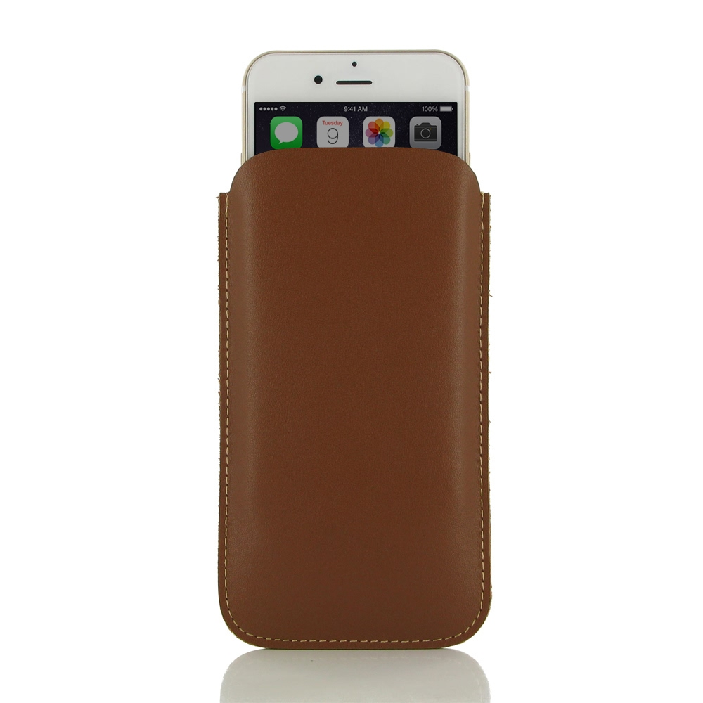 iphone 6 6s plus leather sleeve case brown pdair pouch flip. Black Bedroom Furniture Sets. Home Design Ideas