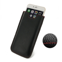 Leather Vertical Sleeve Pouch Case for Apple iPhone 6 Plus | iPhone 6s Plus (Black Pebble Leather/Red Stitch)
