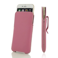 Luxury Leather Pouch Belt Clip Case for Apple iPhone 6 Plus | iPhone 6s Plus (Petal Pink)