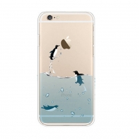 Penguins Swim Sea iPhone 6s 6 Plus SE 5s 5 Pattern Printed Soft Case