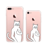 iPhone 7 7 Plus Soft Clear Case (Cool Ripndip Cat Middle Finger Cat) PDair