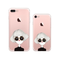 iPhone 7 7 Plus Pattern Printed Soft Clear Case (Cute Woman) PDair