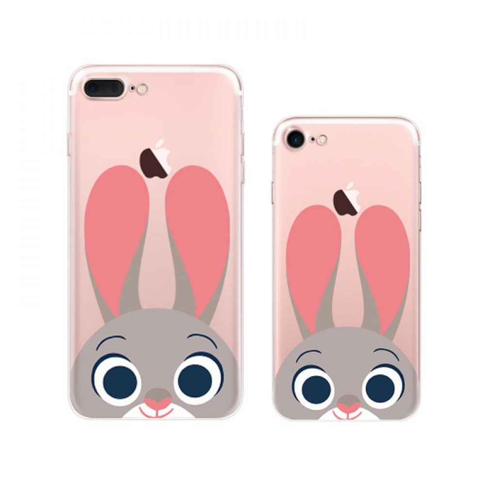 iPhone 7 7 Plus Printed Soft Clear Case (Cute Zootopia Judy Hopps) PDair
