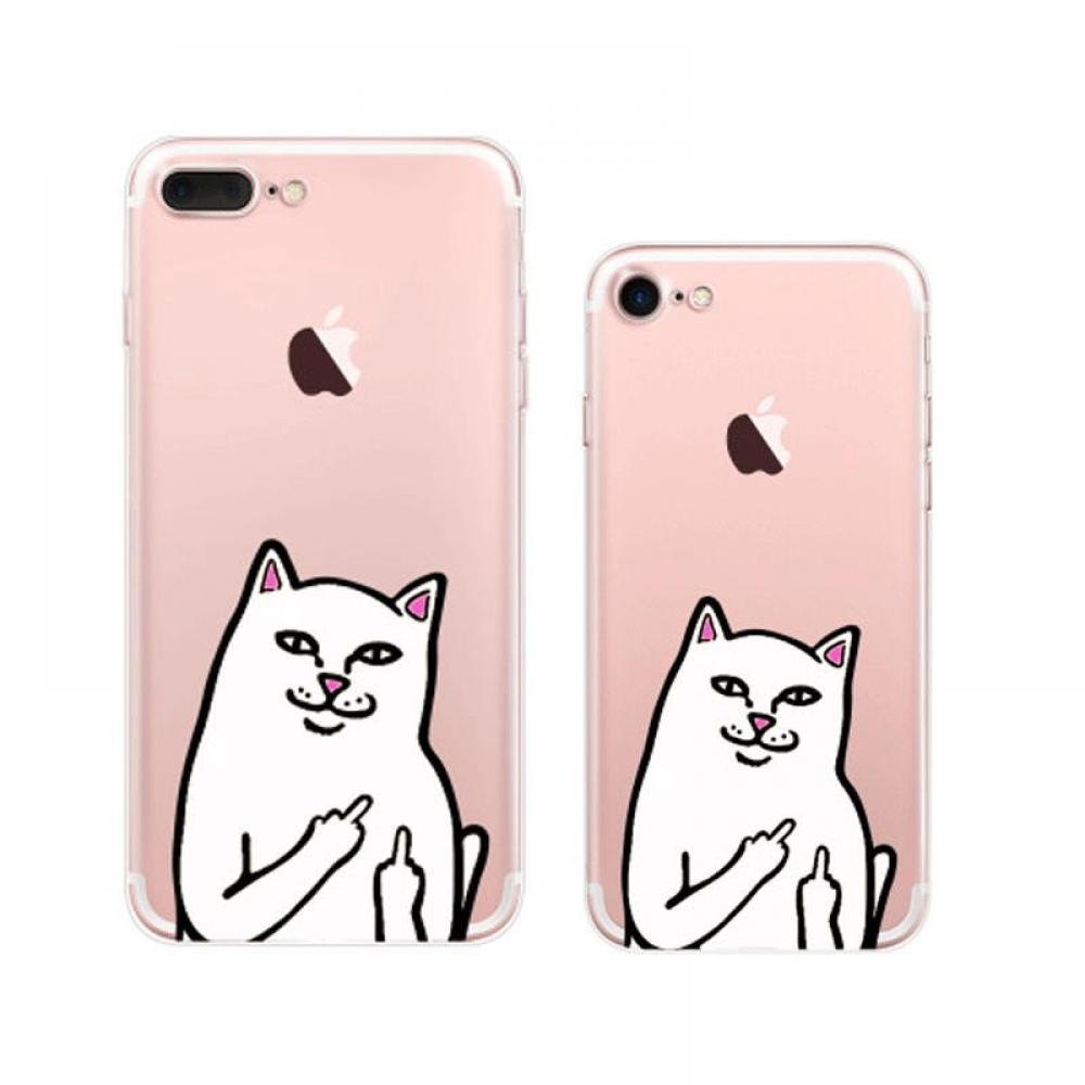 iPhone 7 7 Plus Soft Clear Case (Ripndip Cat Middle Finger Cat) PDair