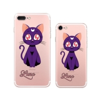 iPhone 7 7 Plus Printed Soft Clear Case Sailor Moon Luna Cat (Purple) PDair